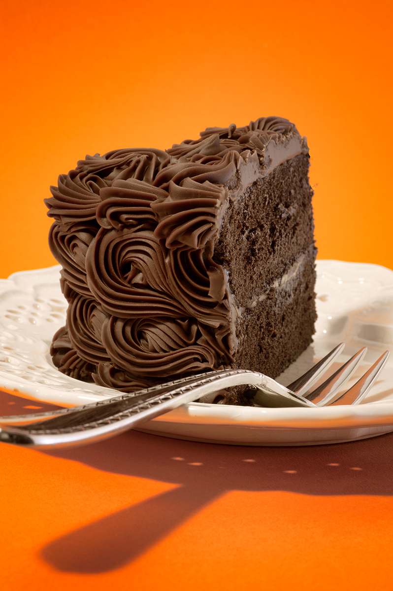 Chocolate Cake Slice on Orange Post #1 -resized.JPG
