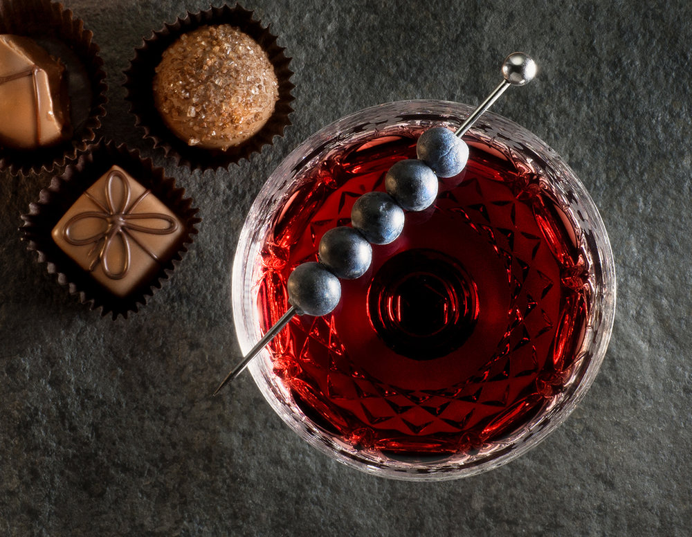 Cranberry cocktail and chocolates
