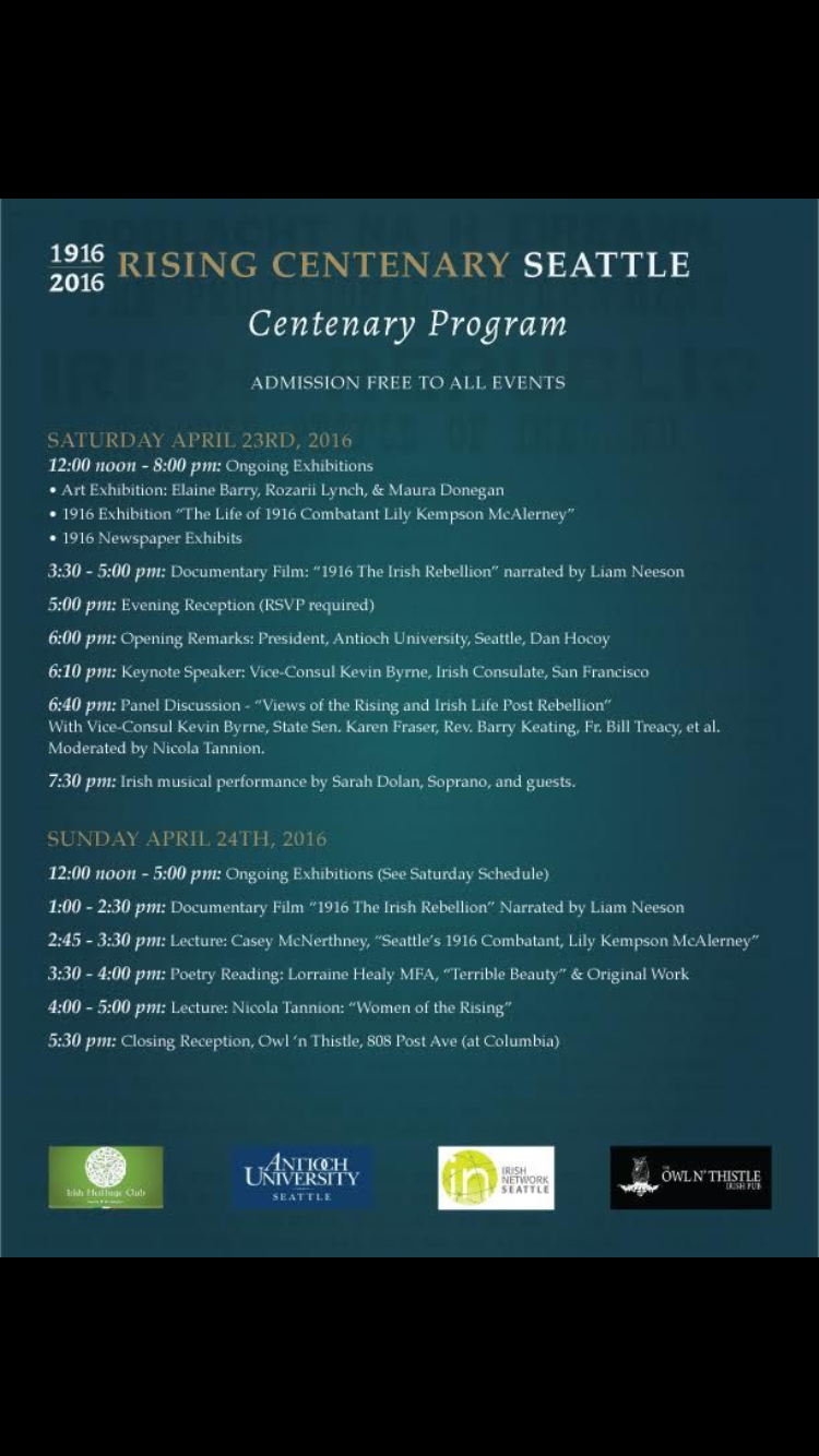 Weekend Schedule for the Irish Easter Rising Centenary
