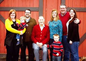 Roehl Family with Dad Miller Christmas 2011