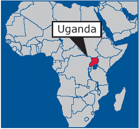 Uganda in Africa map