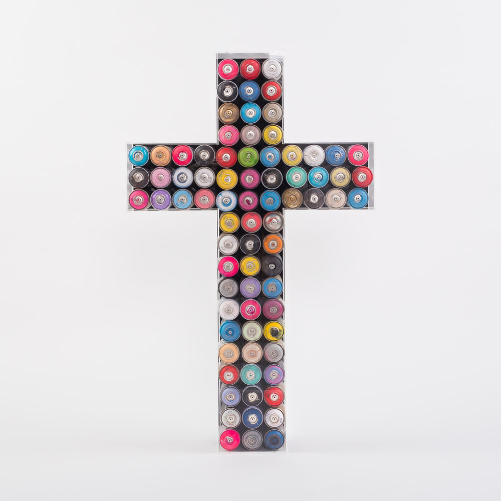 Graffiti-Cross-Preservation-Box_used_montana_spray_cans_in_museum_perspex_crucifix_case_75cm-x-121cm-x-19cm-£4000.jpg