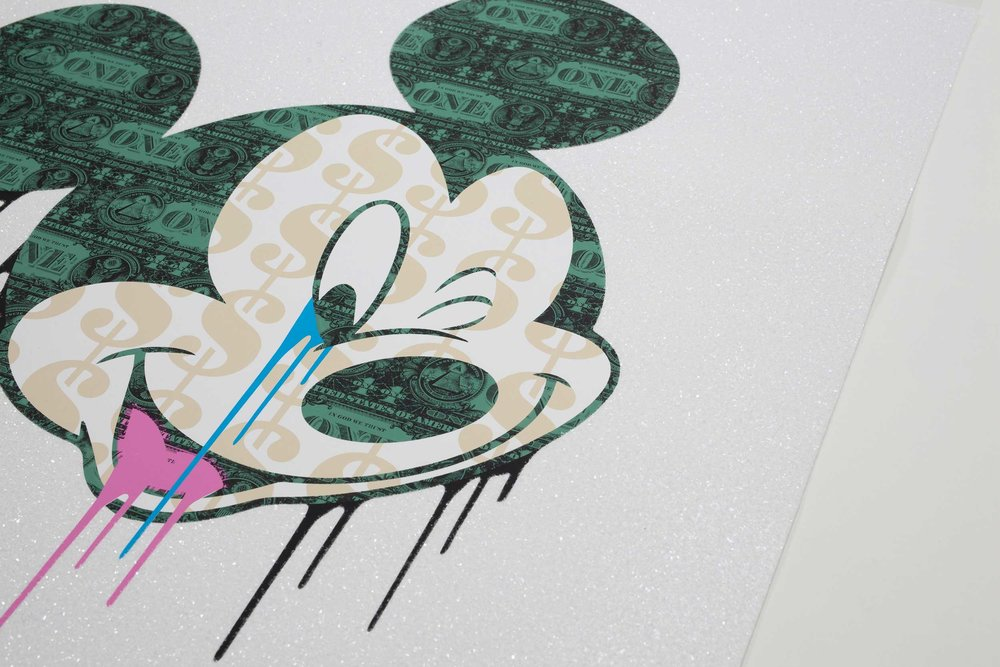 POPAGANDA MICKEY - DIAMOND DUST - Edition of 20100cm x 100cm5 Colour screen print with varnish layers and hand embellished diamond dust on 330gsm Textured fine art paper.Signed and numbered verso.