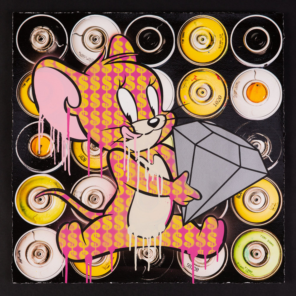 Popaganda-Cans-Diamond-Mouse_spray_paint_screenprint_varnish_pigment_print_on_archival_paper_54cm_X_54cm_black_wood_box_frame-£1250-Framed.jpg