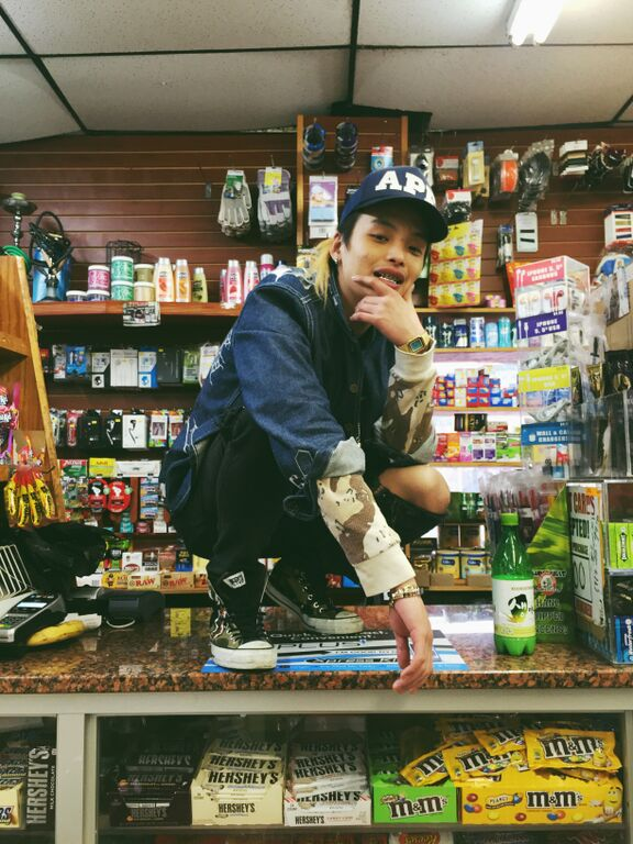 KEith Ape reppin' next to some makgeolli (Image  source )
