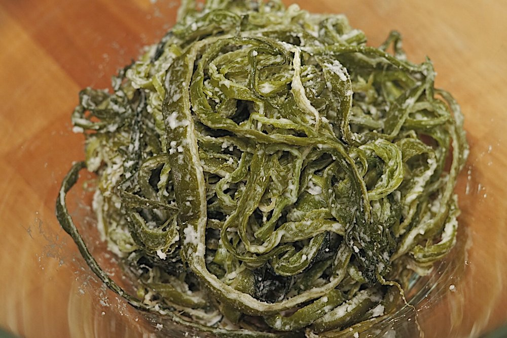 Seaweed stems are preserved in salt. - You'll need to draw out some of the salt otherwise it will not be too palatable! X(