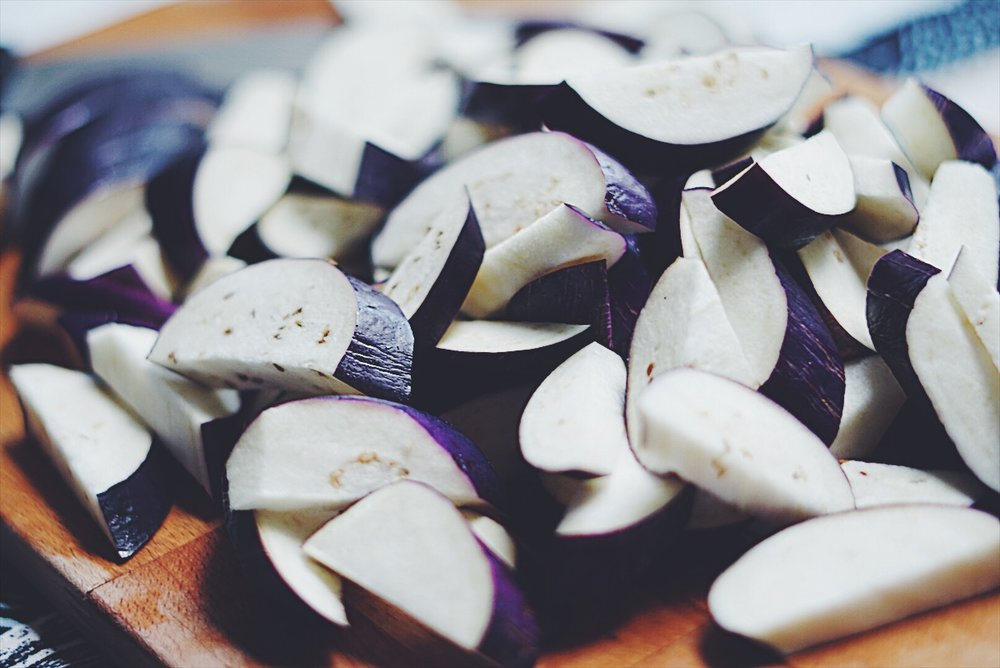 Diagonally sliced eggplant