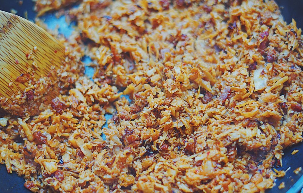 Stir rice frequently and your fried rice will be ready once all the liquids have been absorbed and looks golden.