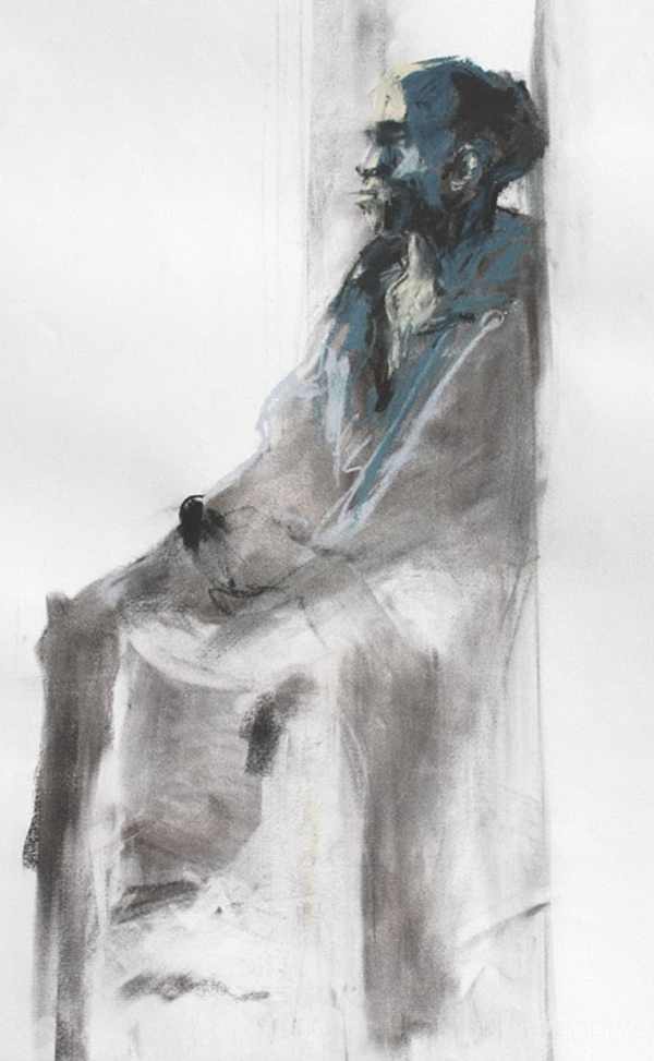West London Drape. Charcoal and pastel