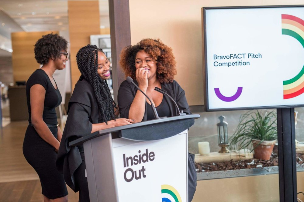 Photo from InsideOut BravoFACT pitch competition Win, May 2017  Credit: Inside Out Film Festival