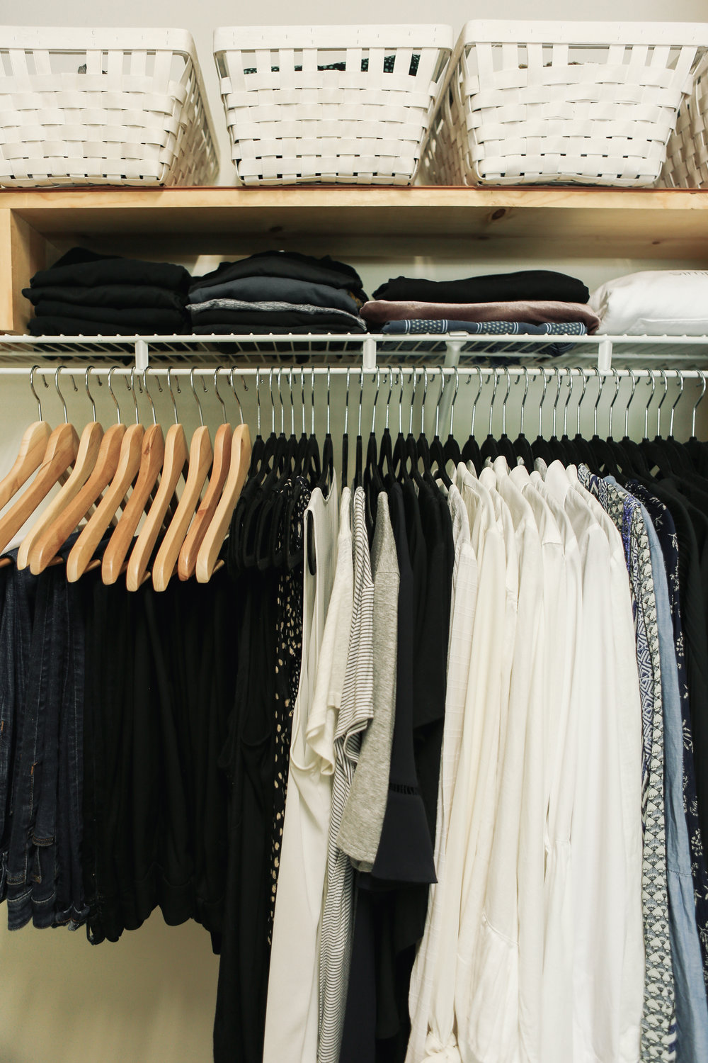Step 3 - Now take your closet to the next level and color code. Within the clothing groups of pants, shirts, etc., put all white shirts together, then black and so on. This step will make it a snap to get ready in the morning and make your closet look organized and beautiful!