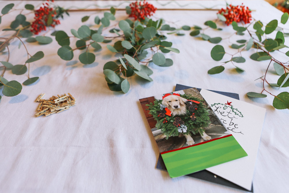 Step 5 - Attach holiday cards to your garland with mini clothes pins. Once you hang your garland you can add more cards as they arrive.