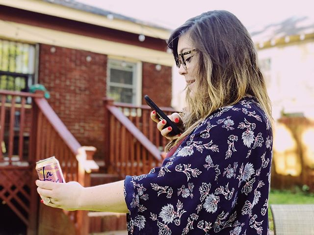 That thing of when you're taking a photo of your La Croix and hot pink nails to show Instagram how basic you are and your husband sneaks a photo of you being that basic, bringing everything full circle.