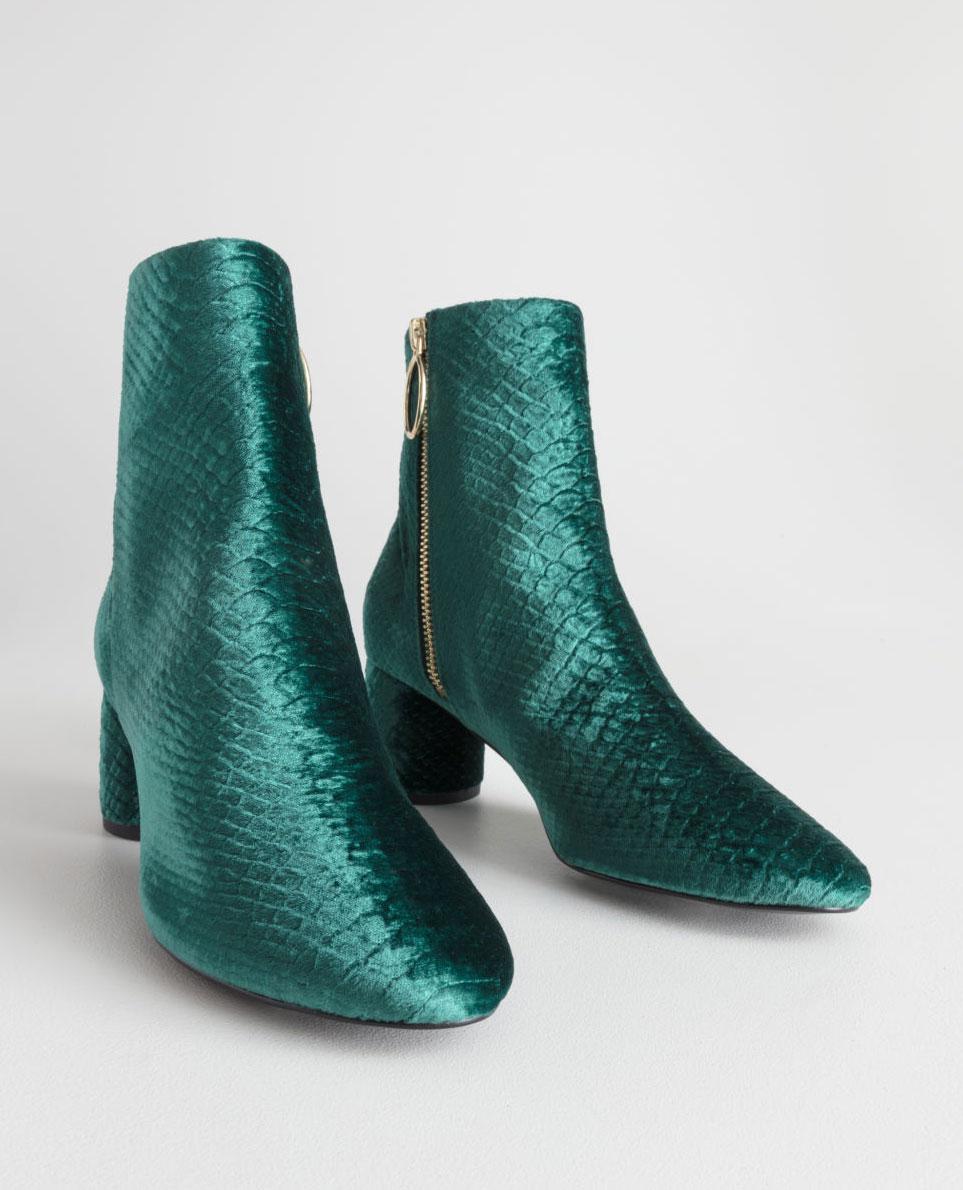 & Other Stories Velvet Snake Ankle Boots     $75