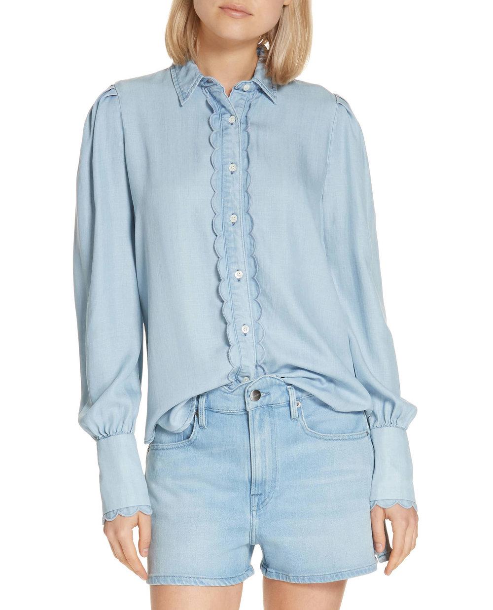 Frame Ruffle Denim Shirt       $245