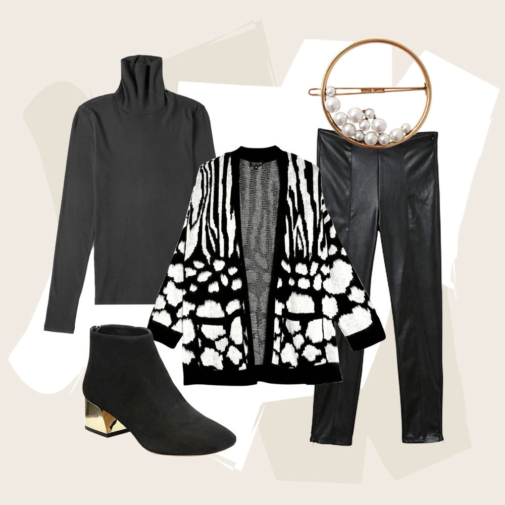 The Coolest Hairpiece for Coordinated Winter Look - Keeping things clean and simple, but still chic and cool-because winter is hard enough. Match gold hardware, on the head and the heels.