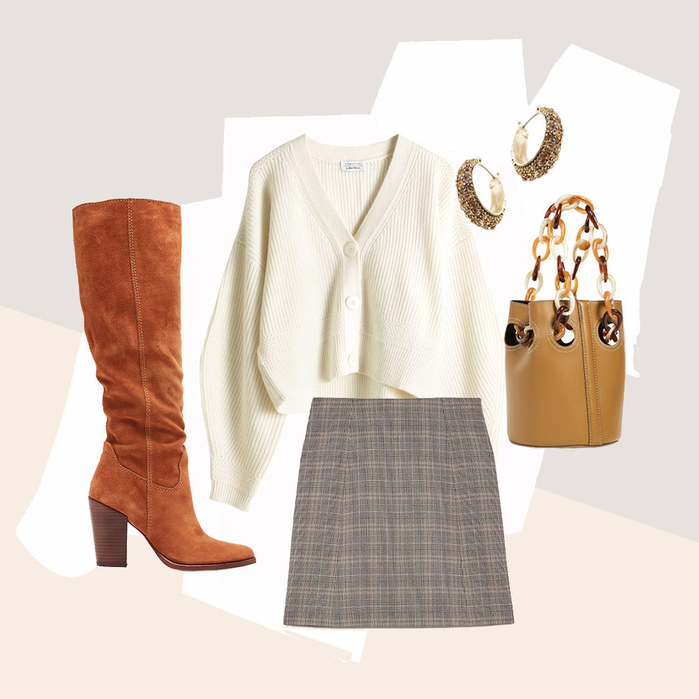 A Slouchy Boot Outfit Idea That Isn't A Million Dollars - Slouchy boots pair well with a plaid skirt and timeless cardigan, always aging nicely. The perfect snack for a night out on the town.