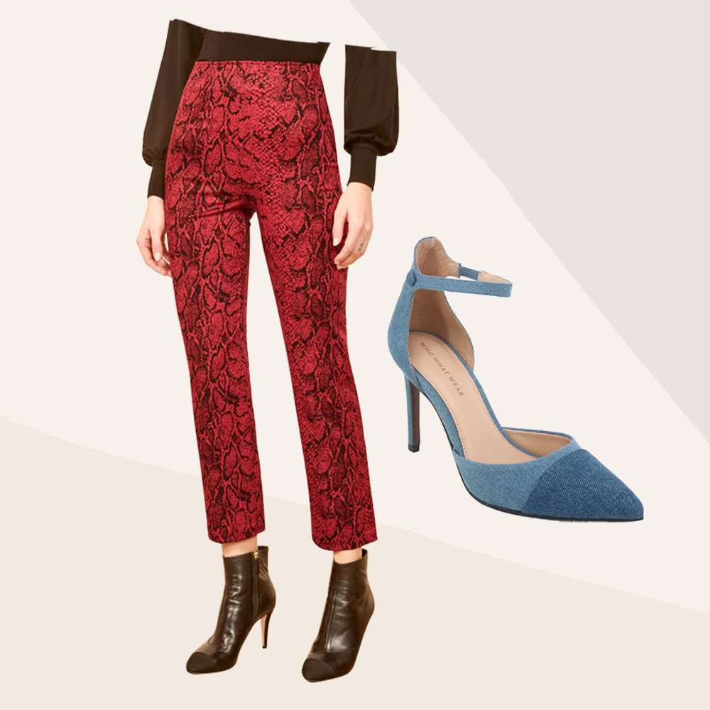 Passing on Plaid - Plaid is cool, but this season's patterns and textures aren't all linear. Shop denim heels for a similar texture or sub out the detailed line word for a classic, streamlined poplin. Break the grid for a pattern that is more on the wild side.