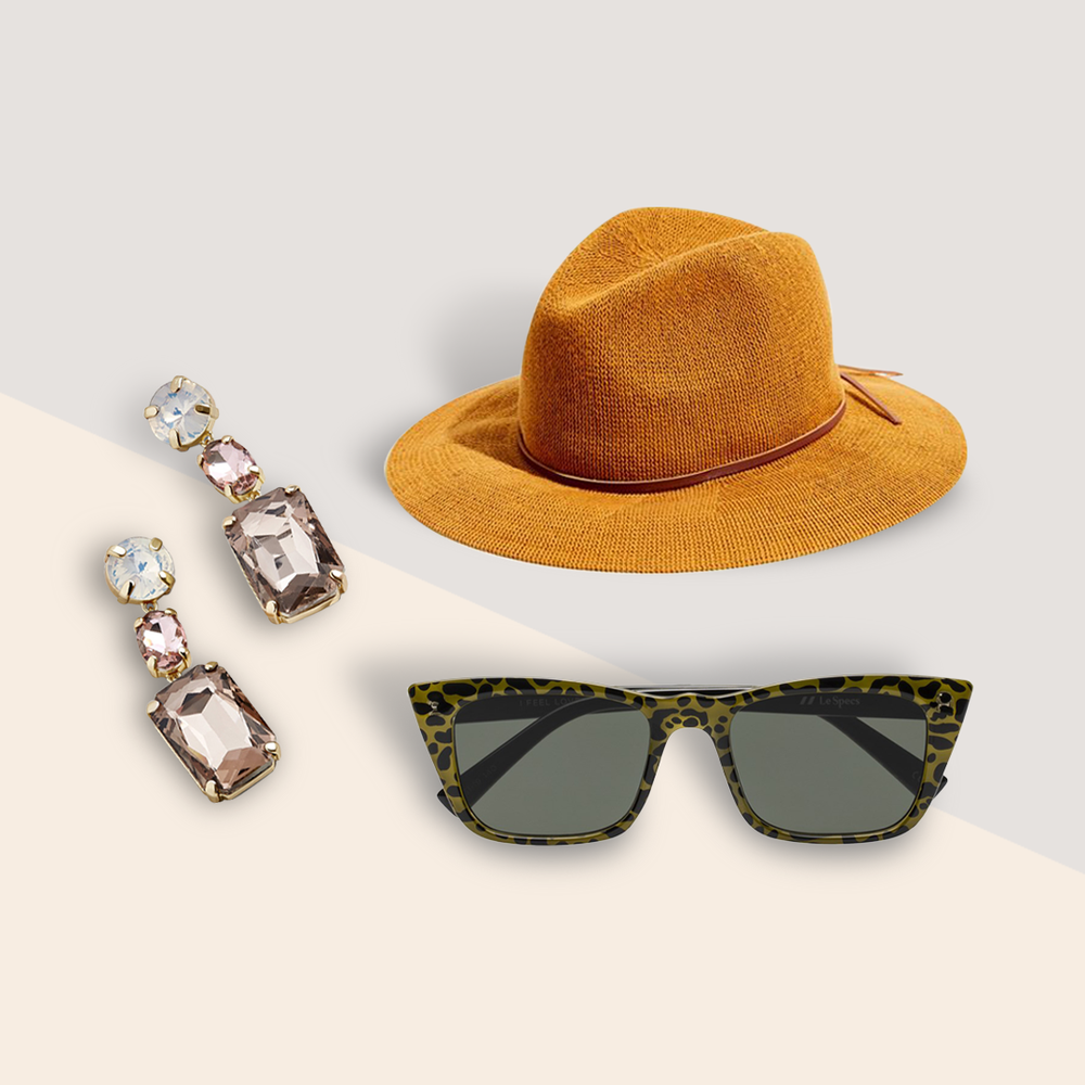 No Big Clip Energy? Wear These Accessories Instead - There are plenty of other on-trend options to dress up that gorgeous dome. Chandelier earrings for a flashy accessory, a structured hat for a full-coverage headpiece, or even trendy sunnies when you need something easy and functional.