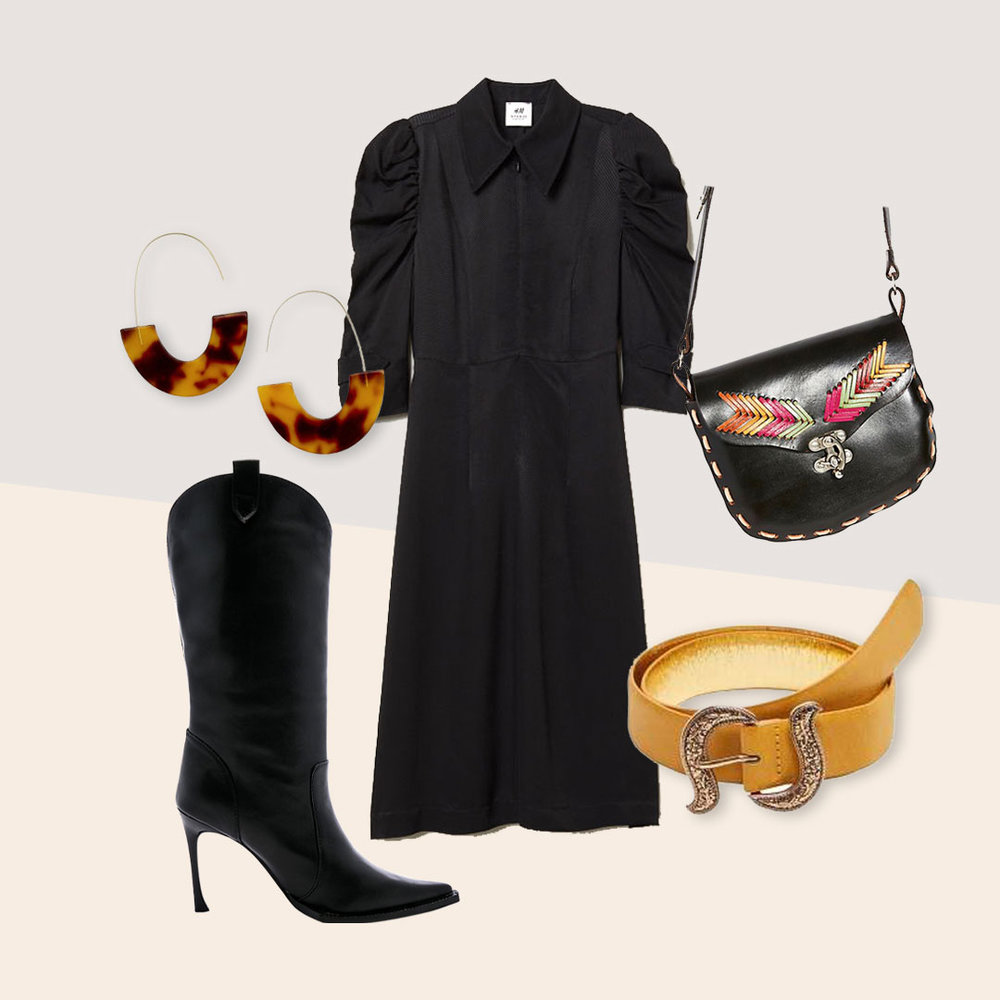 outfits for your inner urban cowboy. - LBD with black boots is a winter standard but a western twist earns it a gold star.