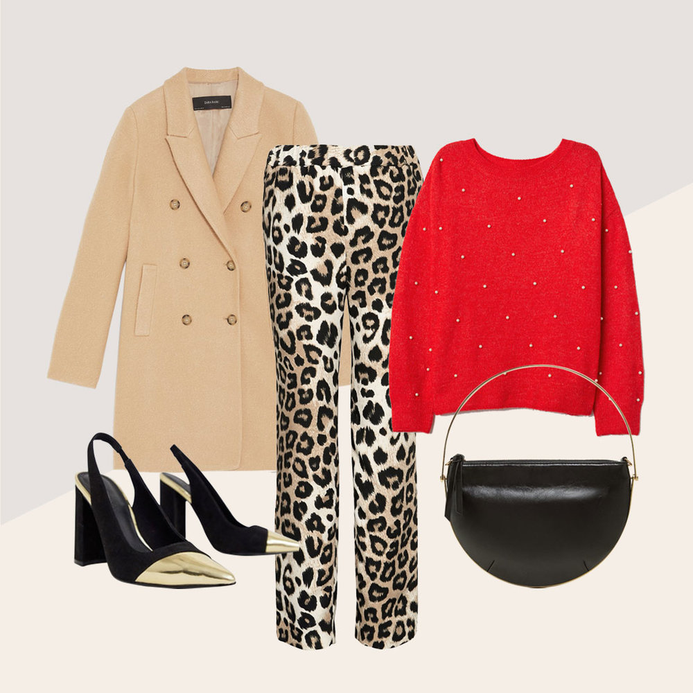 Just Add Leopard for the Perfect Outfit - Neutrals and gold with a pop of red makes for the leopard outfit of your dreams.