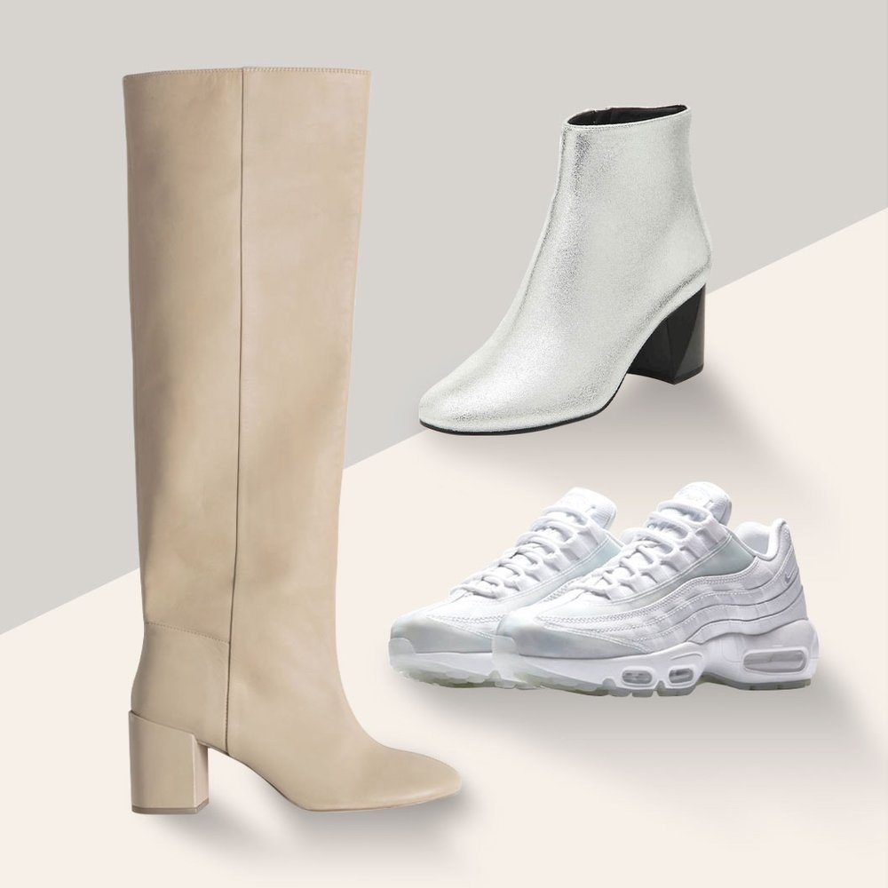 Other Boots When You're Out on White - White too bright? Ease into it with a neutral boot or embrace the white sneaker and metallic trend. Or if you want to take bold to the next level, get a jump start with a colorful bootie.