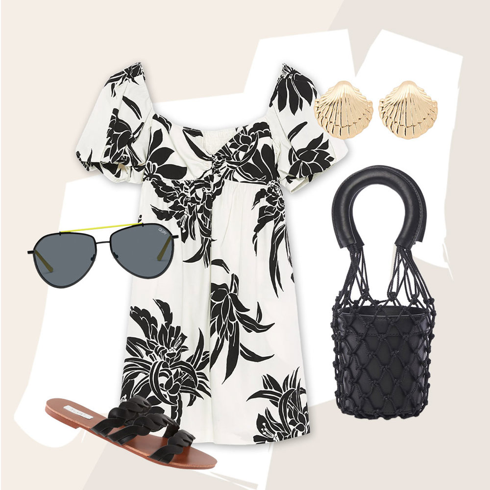 Tropic like its Hot - Bring the tropics to your wardrobe with this monochrome look with a pop of the season's trending color.