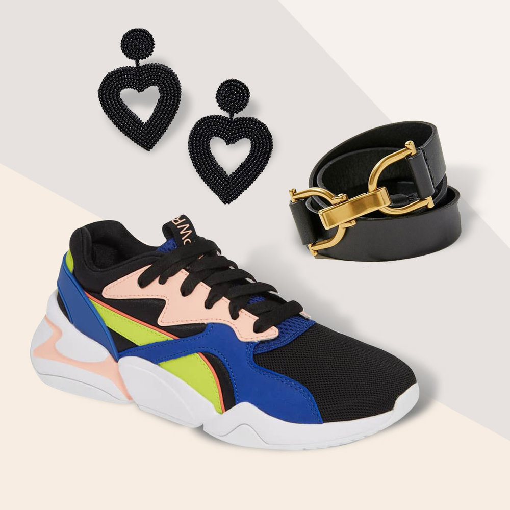 You don't need Glitz to Stand Out - Novelty earrings in a trendy heart shape or neon accents on sneakers will make any outfit fun.