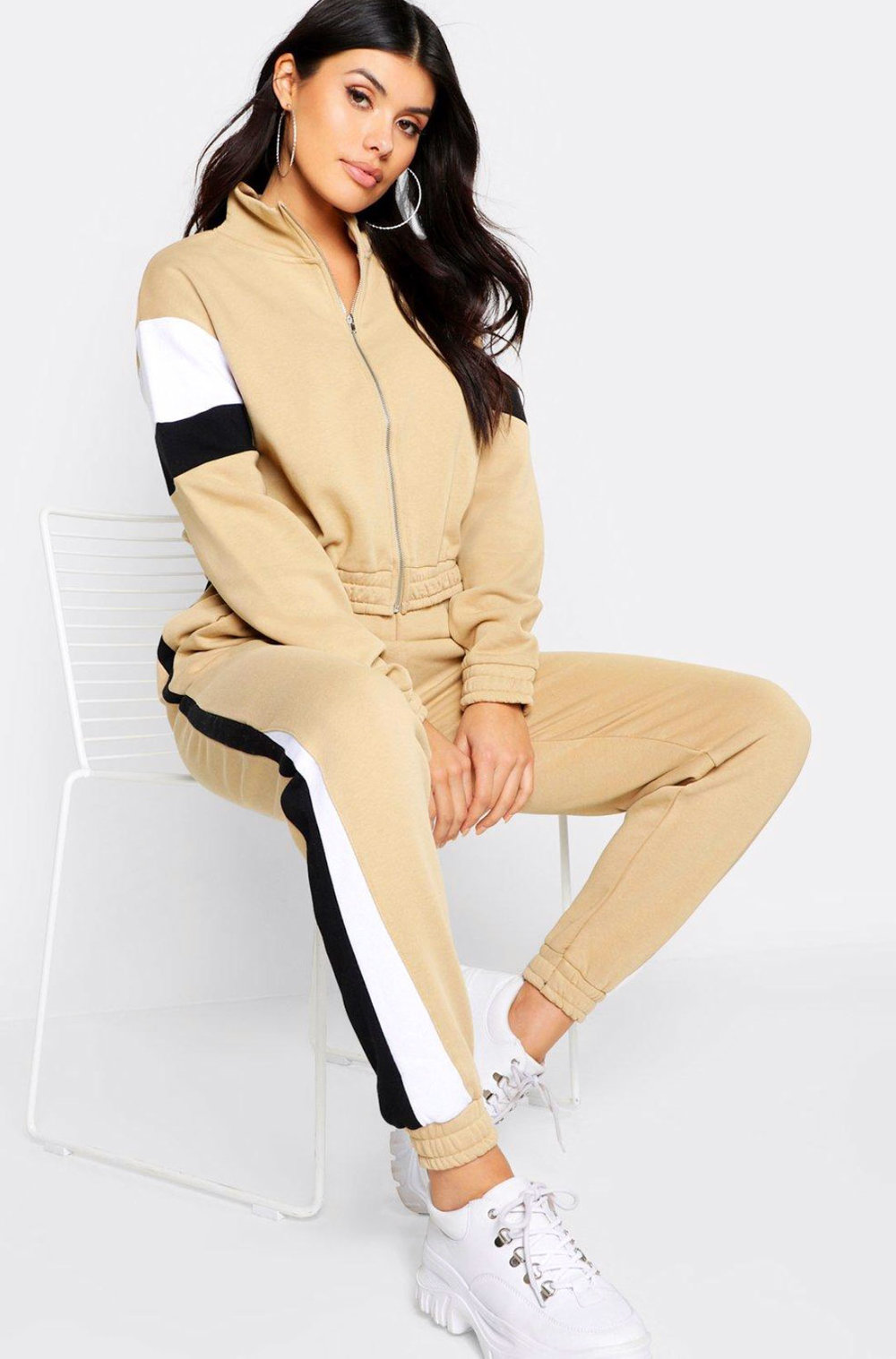 Boo Hoo Neutral Track Suit  $32