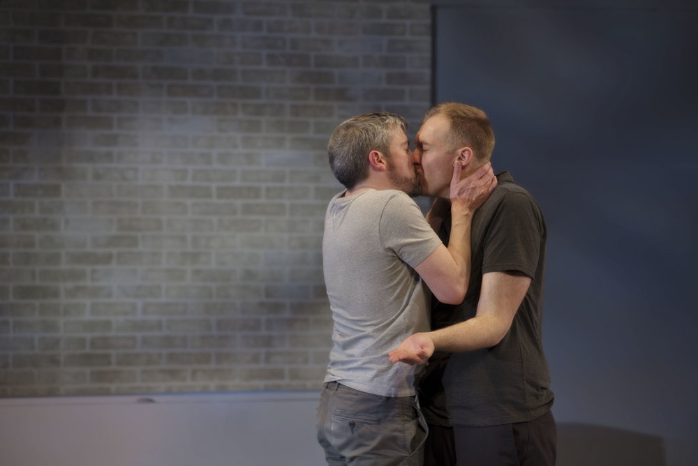 Paul Dunn and Mark Crawford in Centaur Theatre's production of Bed and Breakfast. Set and costume design by Dana Osborne and lighting design by Rebecca Picherack. Photo by Andrée Lanthier.