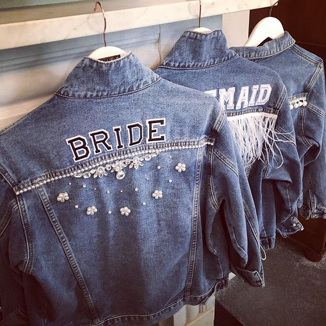 Ready for the #squad . . . #customised #personalised #oneofakind #denim #denimjacket #lovedenim #misstomrs #bridestyle #bridalaccessories #bridetobe #misstomrs #engaged #modernbride #coolbride #instabride #bridalmusings #ootd #instastyle #orderonline #shopindependent #wifey #wifeyforlifey #bridesmaid #hendo #bridetribe #squadgoals #supportsmallbusiness #wifeymaterial #beespokebride