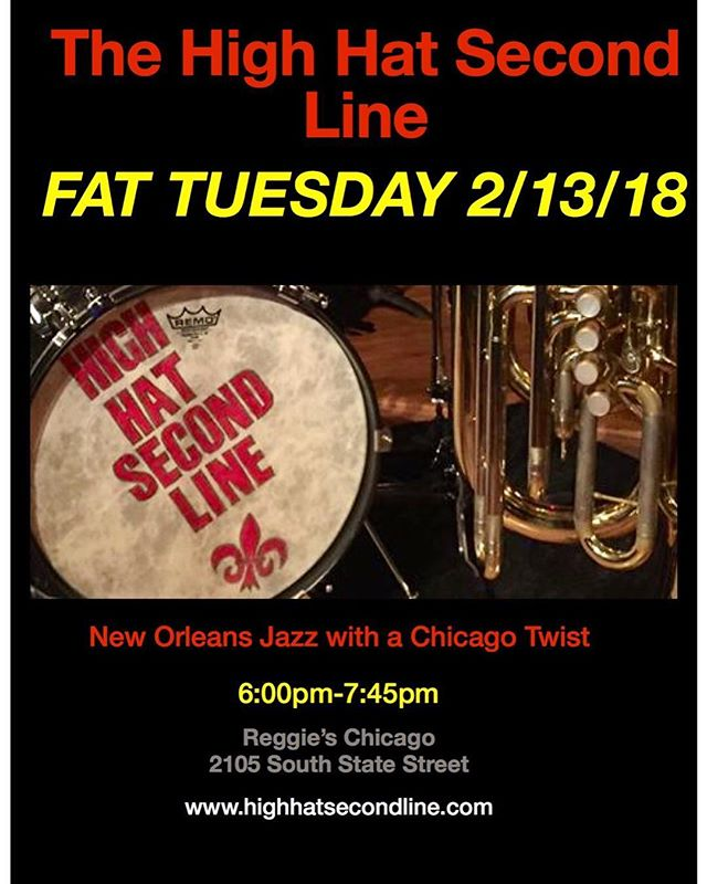 Join us tonight for #mardigras at @reggieslive at 6pm and the. At 9:30 at Simon's in Andersonville! #nolainchicago #highhatsecondline #paiste #gretschdrums