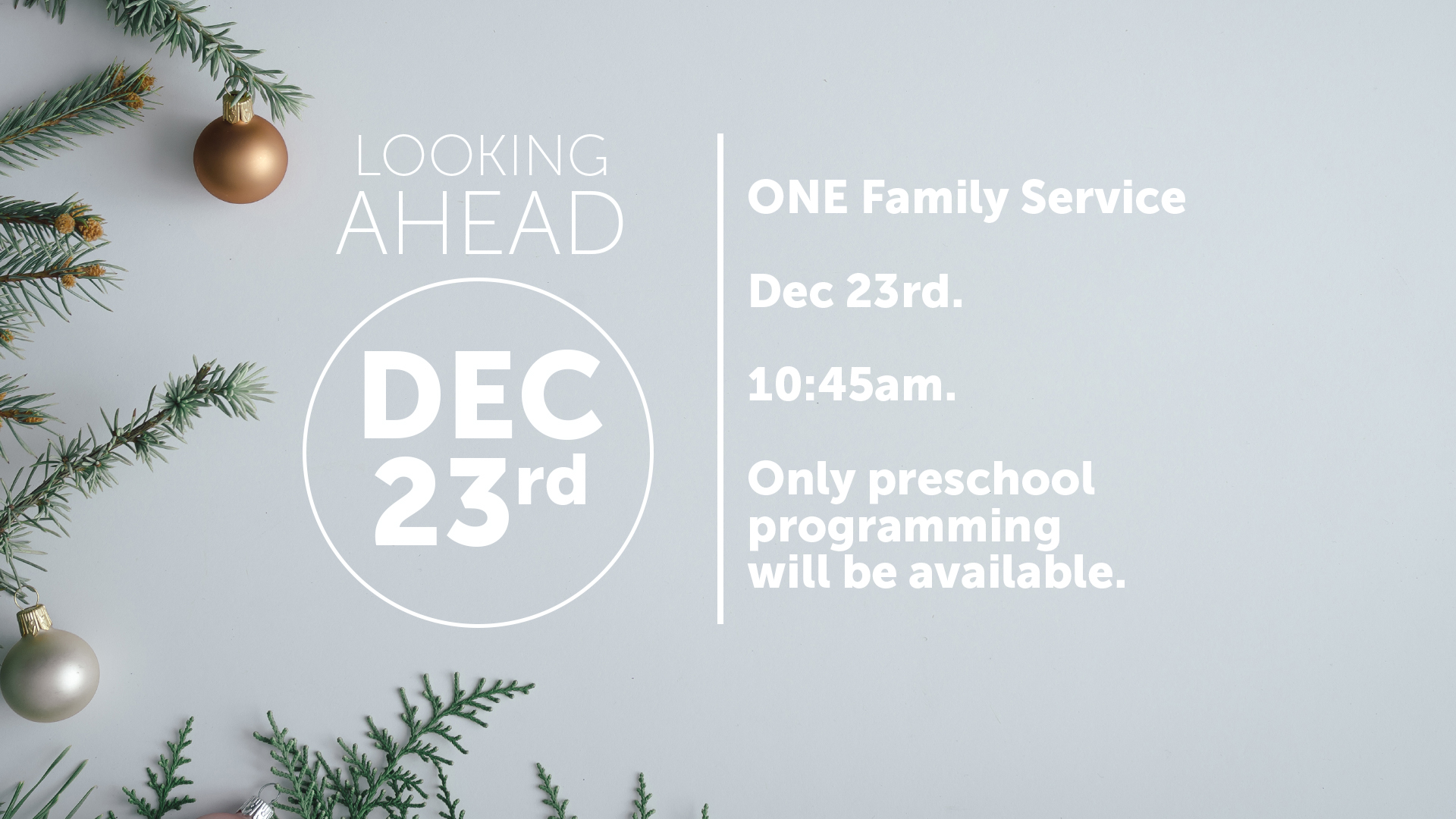 December 23rd- ONE FAMILY SERVICE — Church at the Mall 2581dd1be