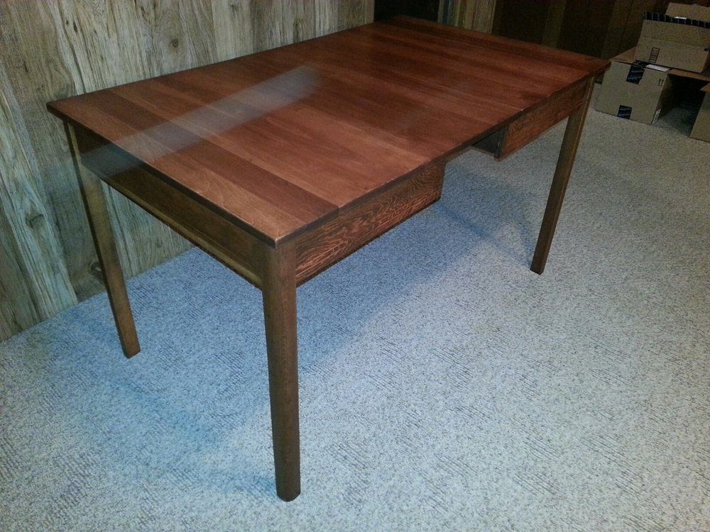 kitchen table refinished. new solid birch top stripped and refinished legs and apron to match.jpg
