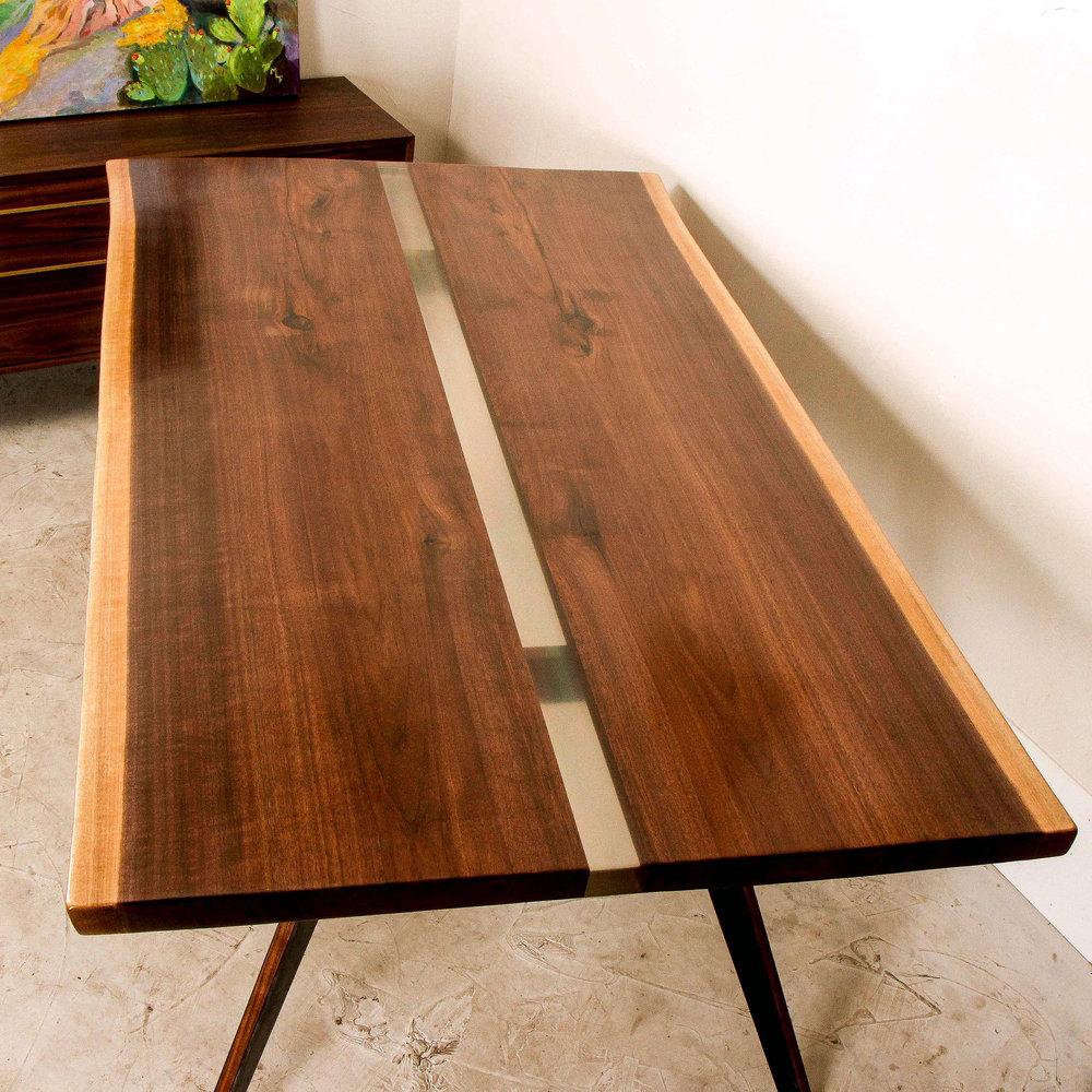 Arrow Walnut Live Edge Slab Dining Table by Mockingbird Made