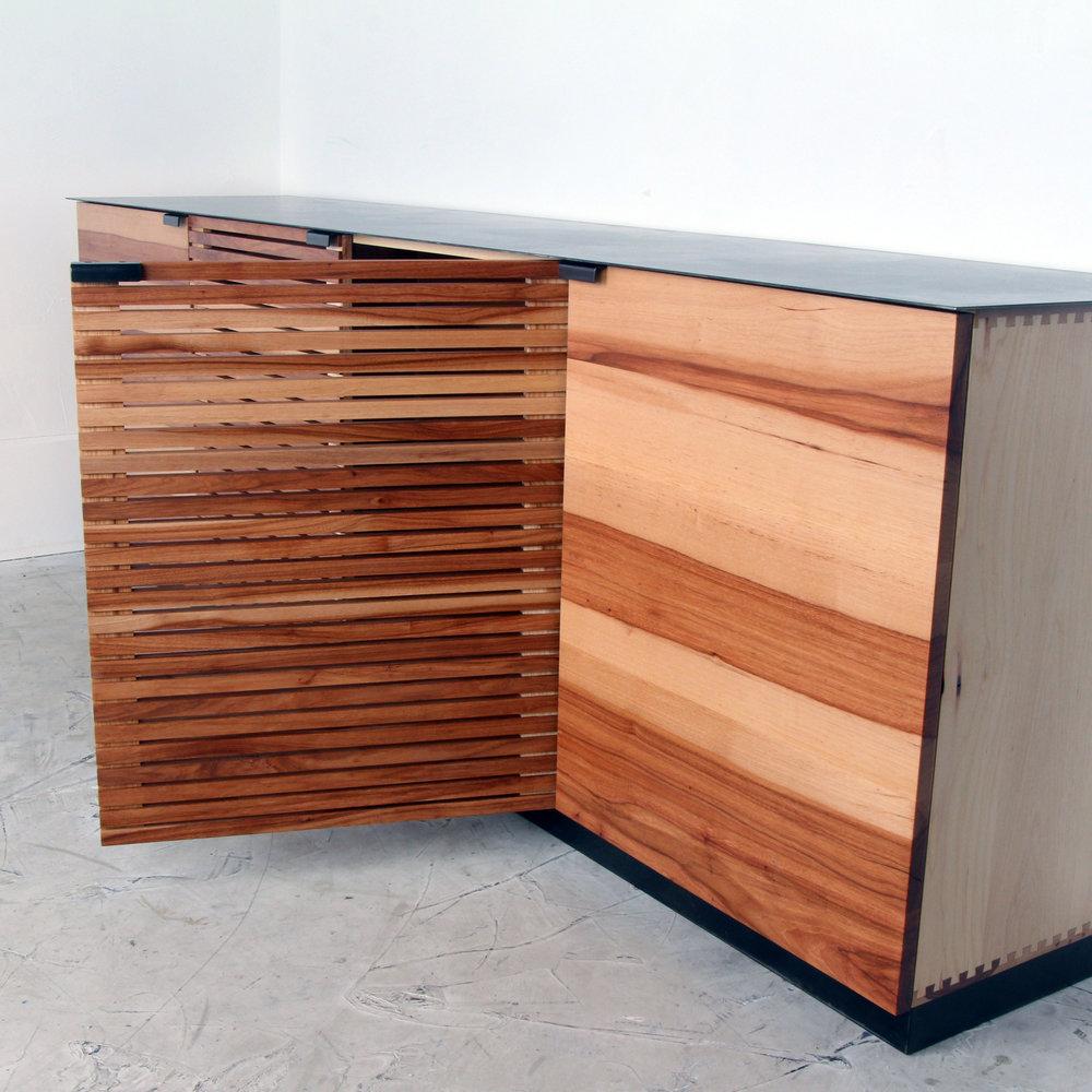 Pecan Slat Media Console Steel top by Mockingbird Made