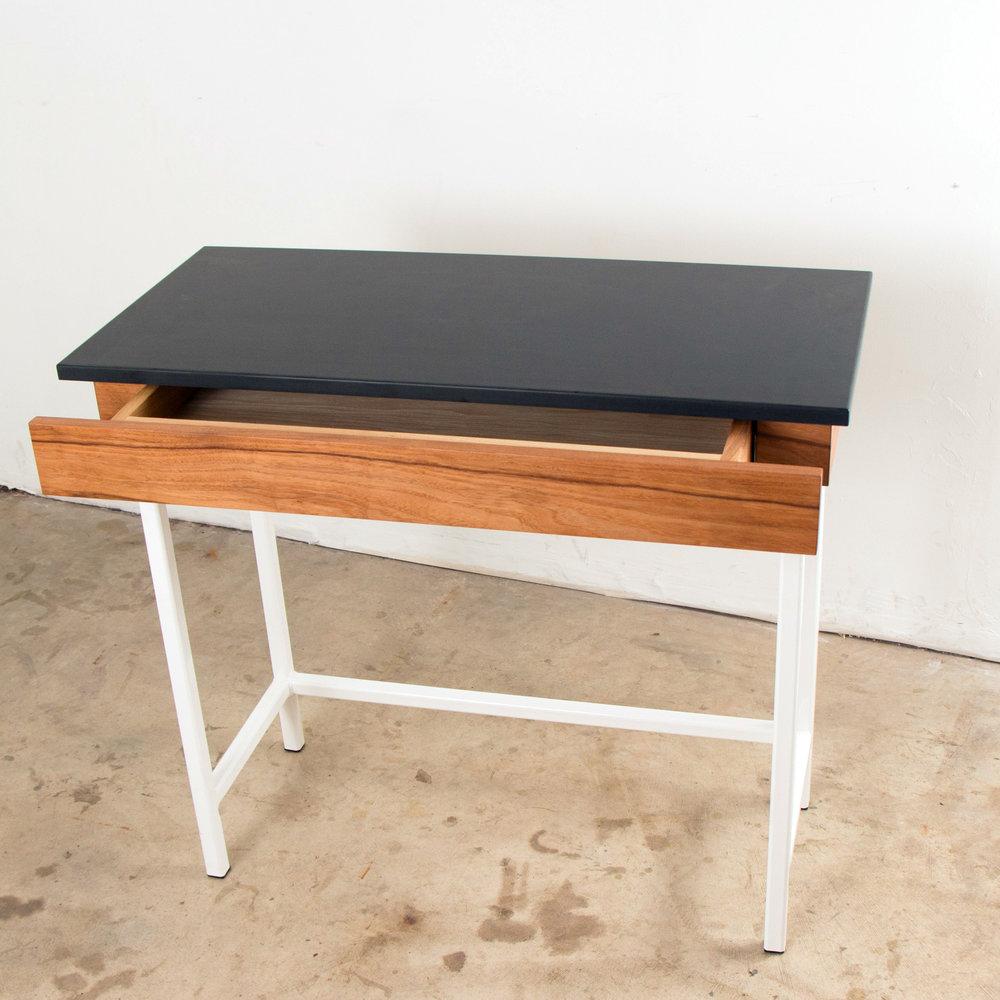 Phenolic Pecan Desk with White Steel base