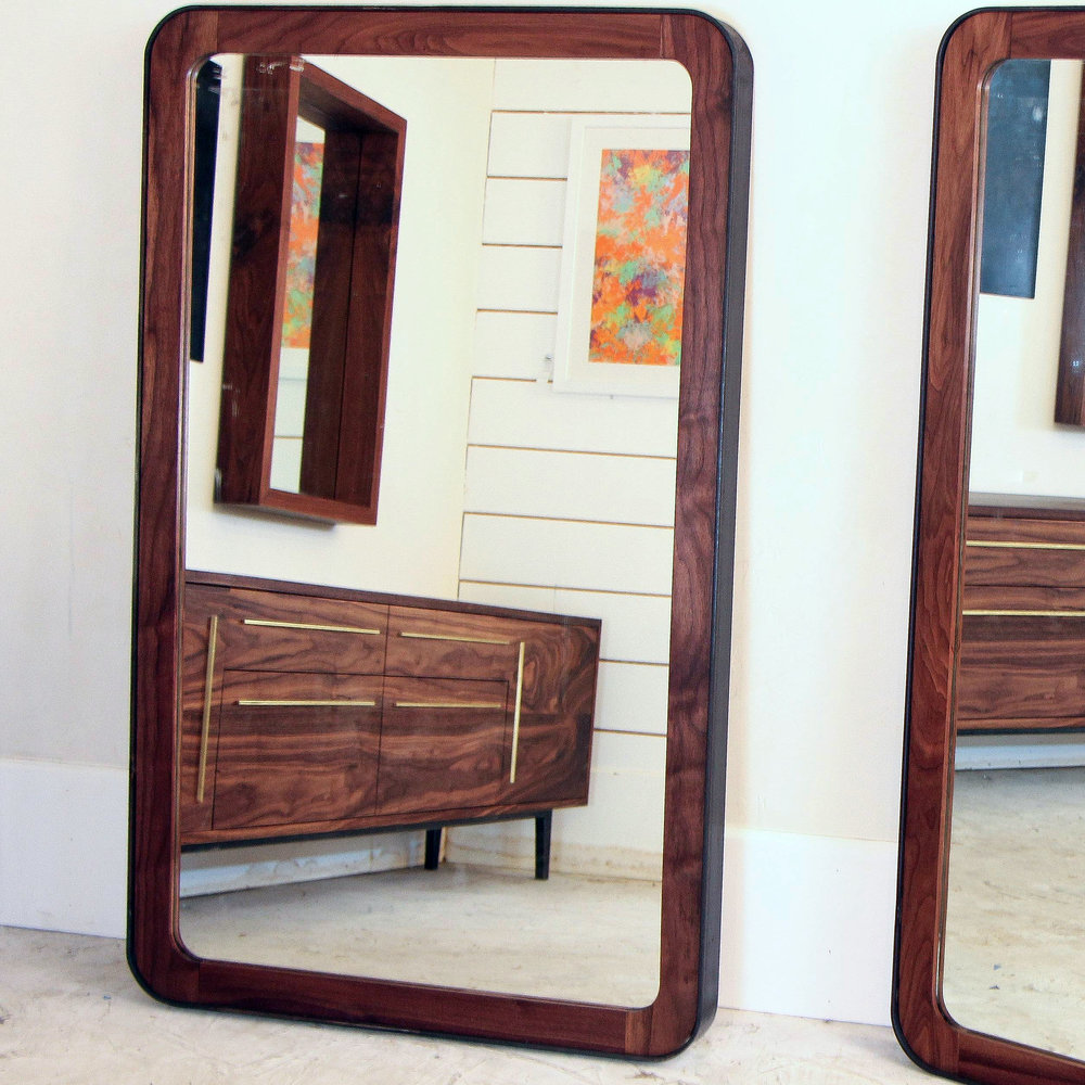 Steel Walnut Rounded Corner Mirror by Mockingbird Made