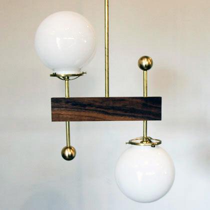 2 Globe Walnut Brass Light