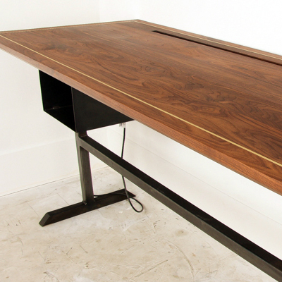 Walnut Brass & Steel Standing Desk