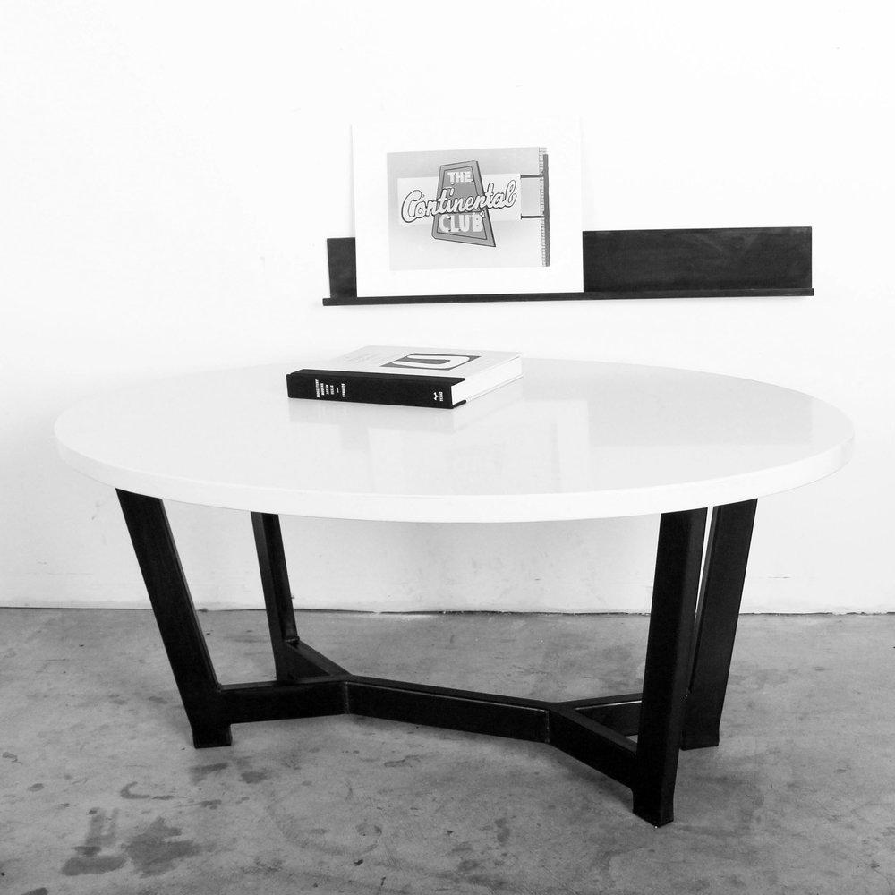 Quartz Oval Beyer Steel Base Coffee Table