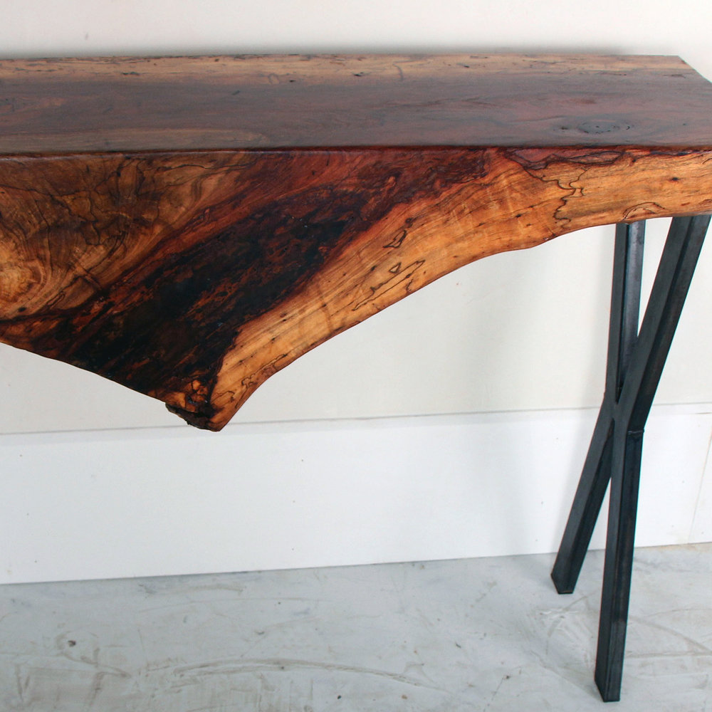 Pecan Waterfall Live Edge Console Table