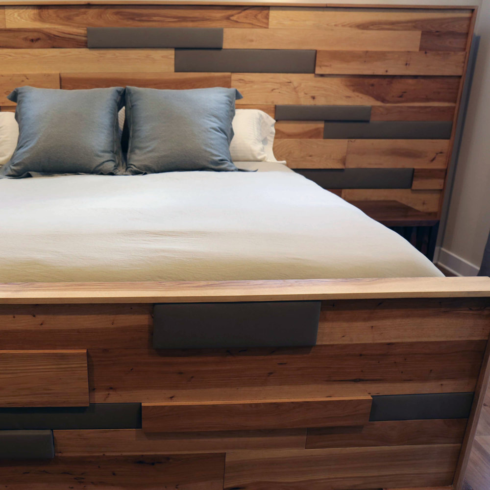 Pecan Leather King Bed