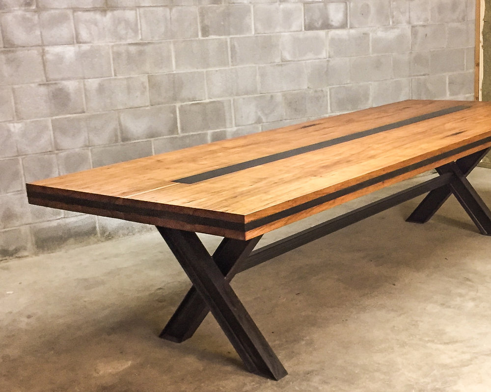 Pecan Steel I-Beam Dining Table