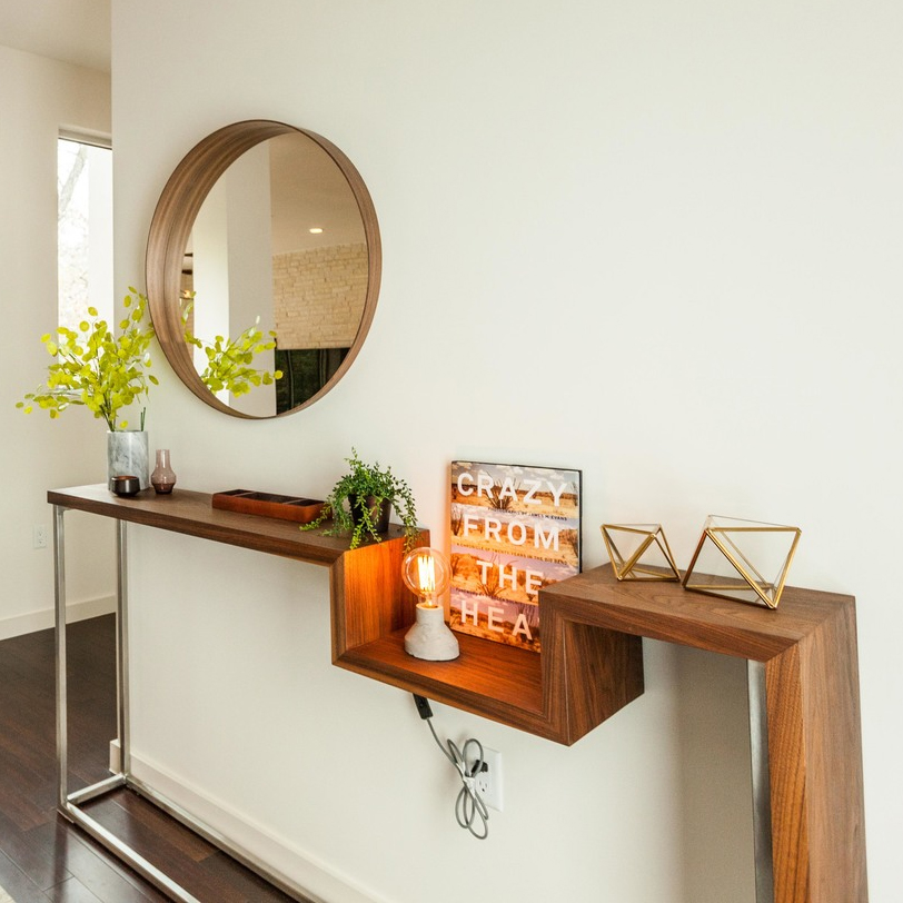 Walnut Stainless Console