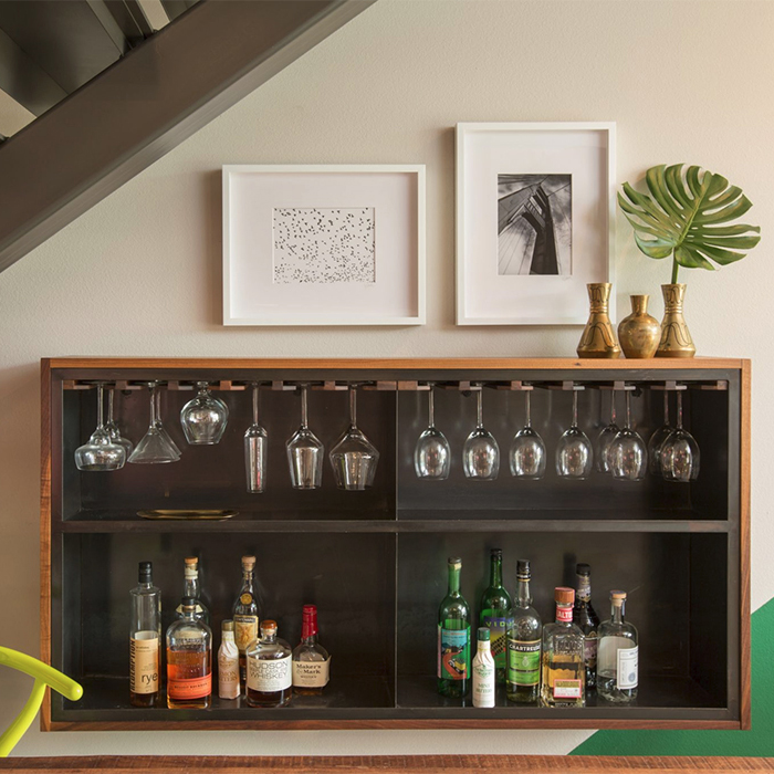 Walnut Steel Bar Cabinet
