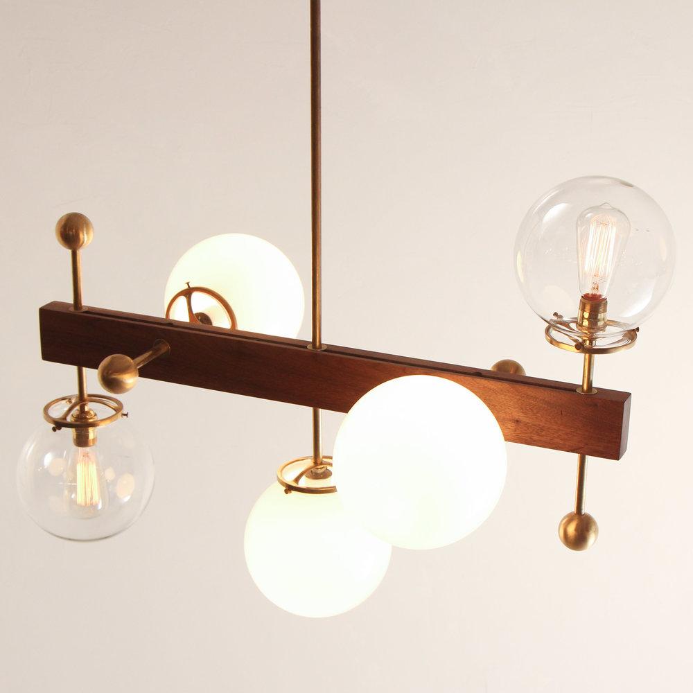 5 Globe Walnut Brass Light