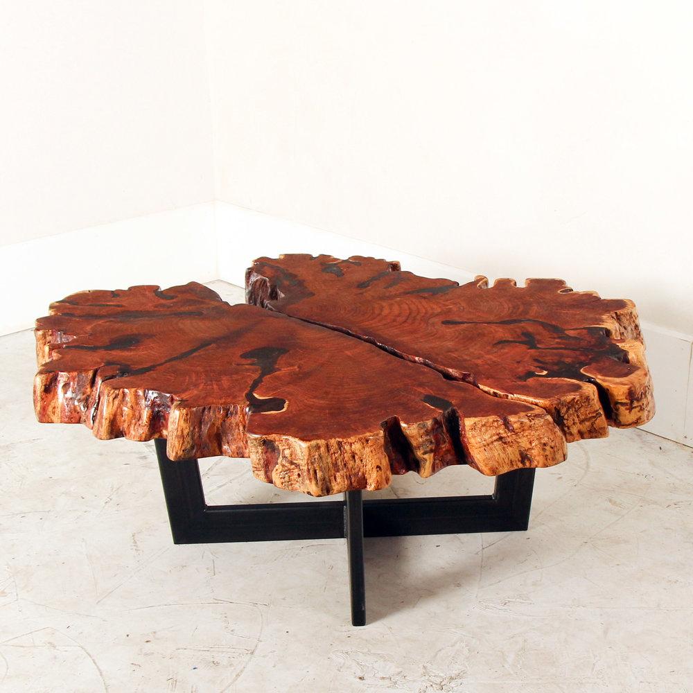 Merveilleux Mesquite Slab U0026 Steel Coffee Table