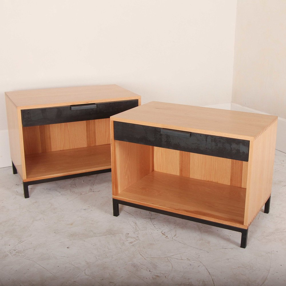 Pecan Steel Drawer Side Table