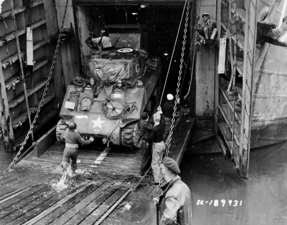 2nd Armored Division M4 being loaded into a LST, 8 Jun 1944.